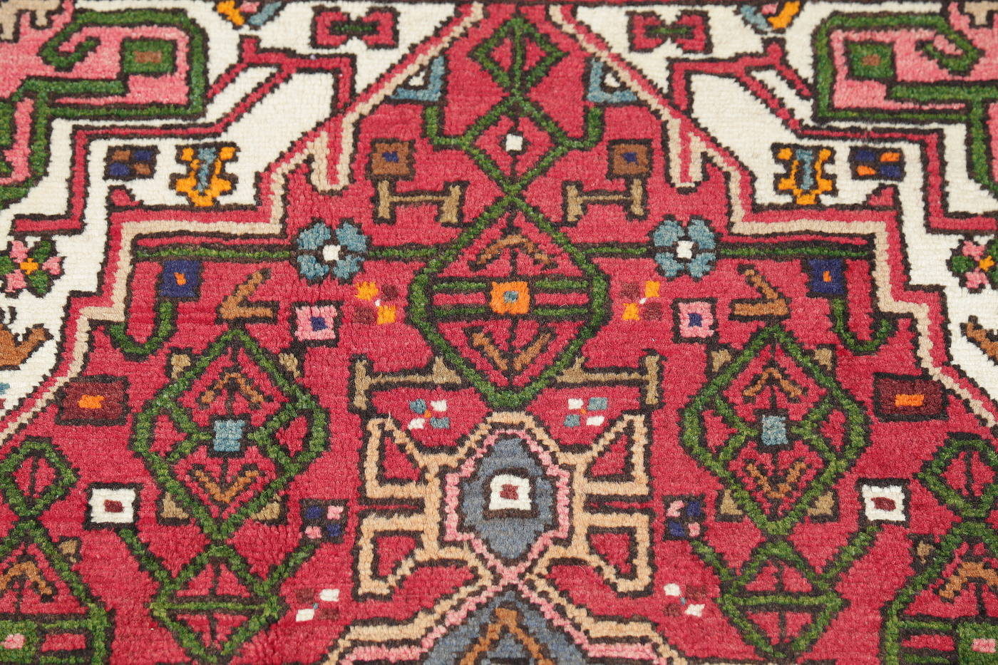 Hand-Knotted Red Geometric Hamedan Persian Area Rug Wool 4x6