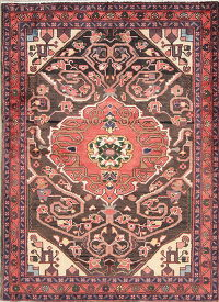 Hand-Knotted Brown Geometric Malayer Hamedan Persian Area Rug Wool 4x5