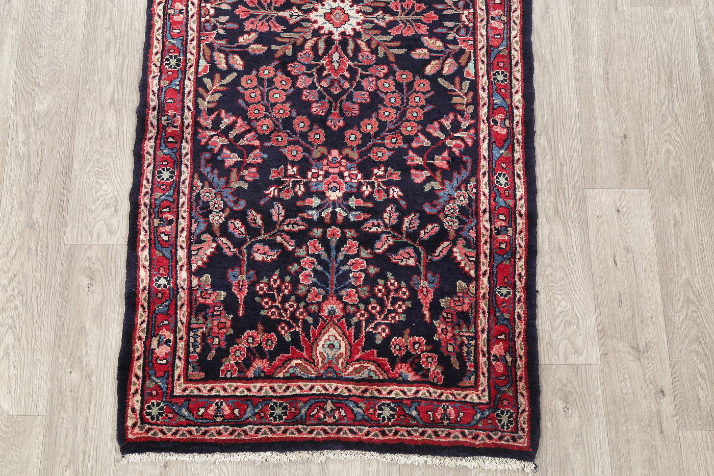 Hand-Knotted Navy Blue Floral Lilian Hamedan Persian Runner Rug Wool 3x7