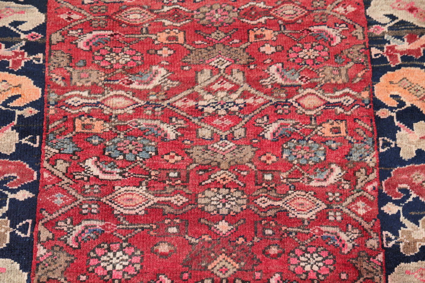 Hand-Knotted Red Geometric Heriz Persian Area Rug Wool 4x5 image 4