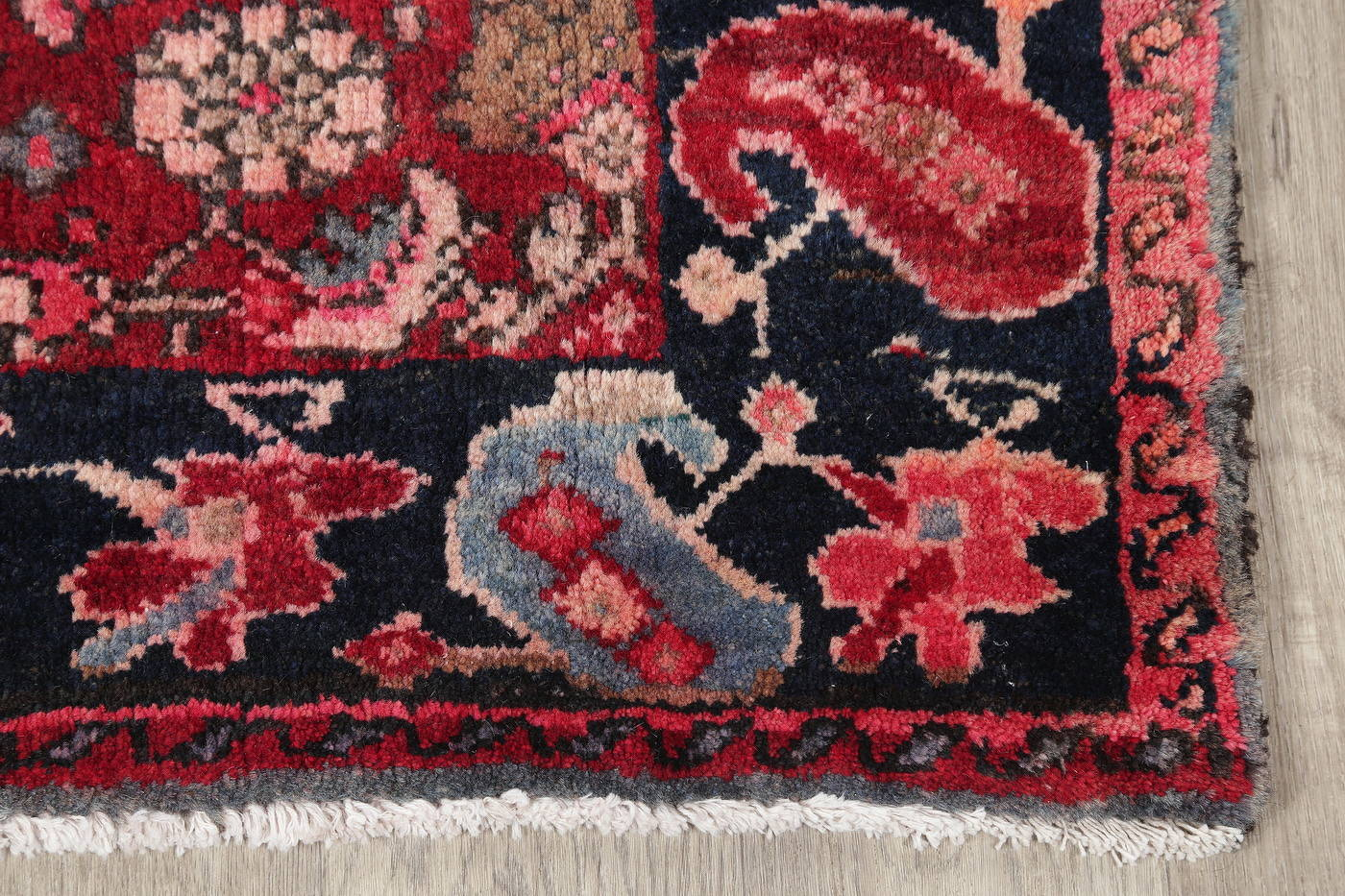 Hand-Knotted Red Geometric Heriz Persian Area Rug Wool 4x5 image 6