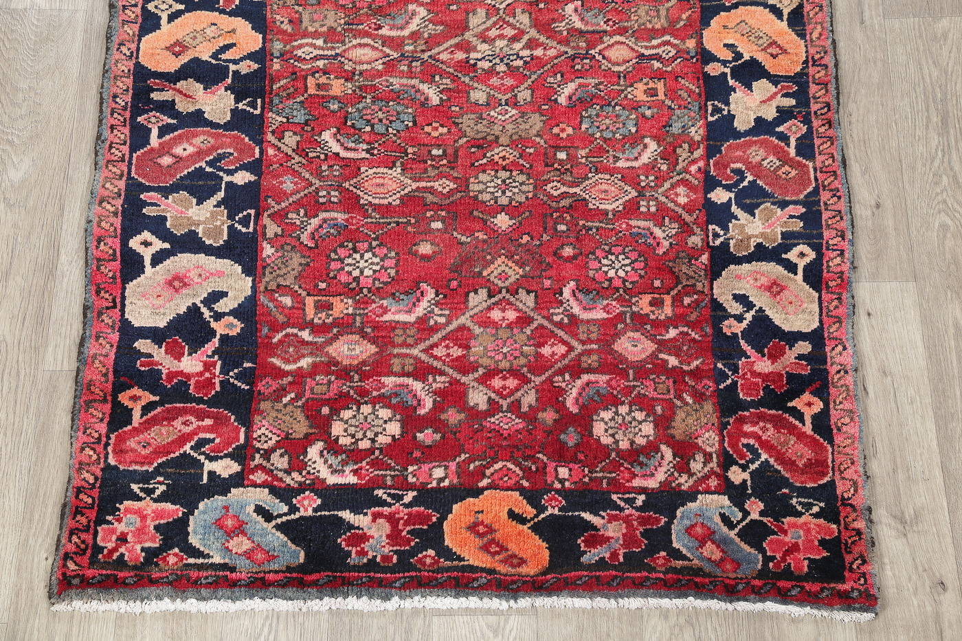 Hand-Knotted Red Geometric Heriz Persian Area Rug Wool 4x5 image 5