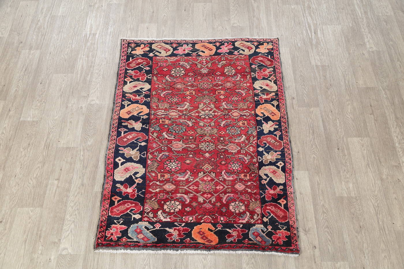 Hand-Knotted Red Geometric Heriz Persian Area Rug Wool 4x5 image 2