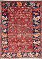 Hand-Knotted Red Geometric Heriz Persian Area Rug Wool 4x5 image 1