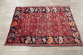 Hand-Knotted Red Geometric Heriz Persian Area Rug Wool 4x5 image 16