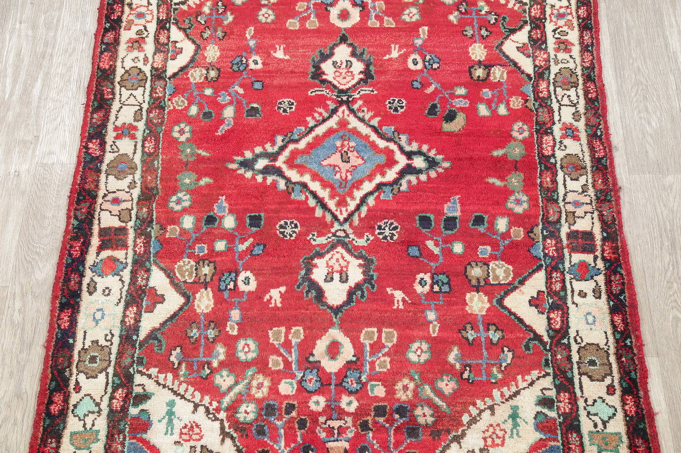 Hand-Knotted Red Floral Hamedan Persian Area Rug Wool 4x7