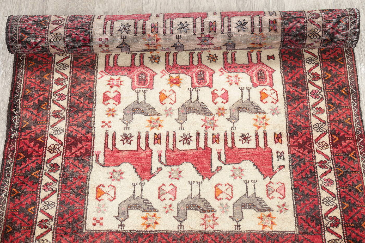 Hand-Knotted Ivory Animal Pictorial Balouch Bokhara Oriental Rug Wool 3x5