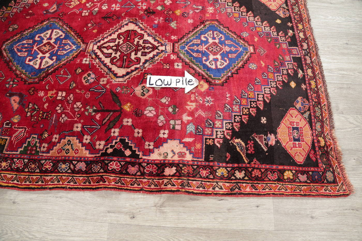 Hand-Knotted Red Tribal Abadeh Persian Area Rug Wool 4x6