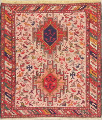 Hand-Woven Tribal Kilim Shiraz Square Persian Rug Wool 3x3