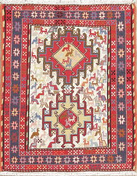 Hand-Woven Ivory Tribal Kilim Shiraz Persian Rug Wool 2x3