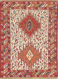 Hand-Woven Ivory Tribal Kilim Shiraz Square Persian Rug Wool 2x3