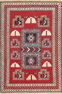 Hand-Woven Red Geometric Kilim Shiraz Persian Rug Wool 3x5