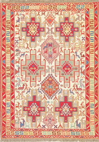 Hand-Woven Beige Tribal Sumak Kilim Shiraz Persian Rug Wool/Silk 4x5