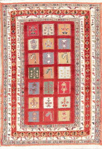 Hand-Woven Red Tribal Kilim Shiraz Persian Rug Wool 3x4
