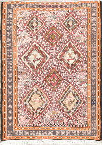 Hand-Woven Tribal Kilim Shiraz Persian Rug Wool/Silk 2x3