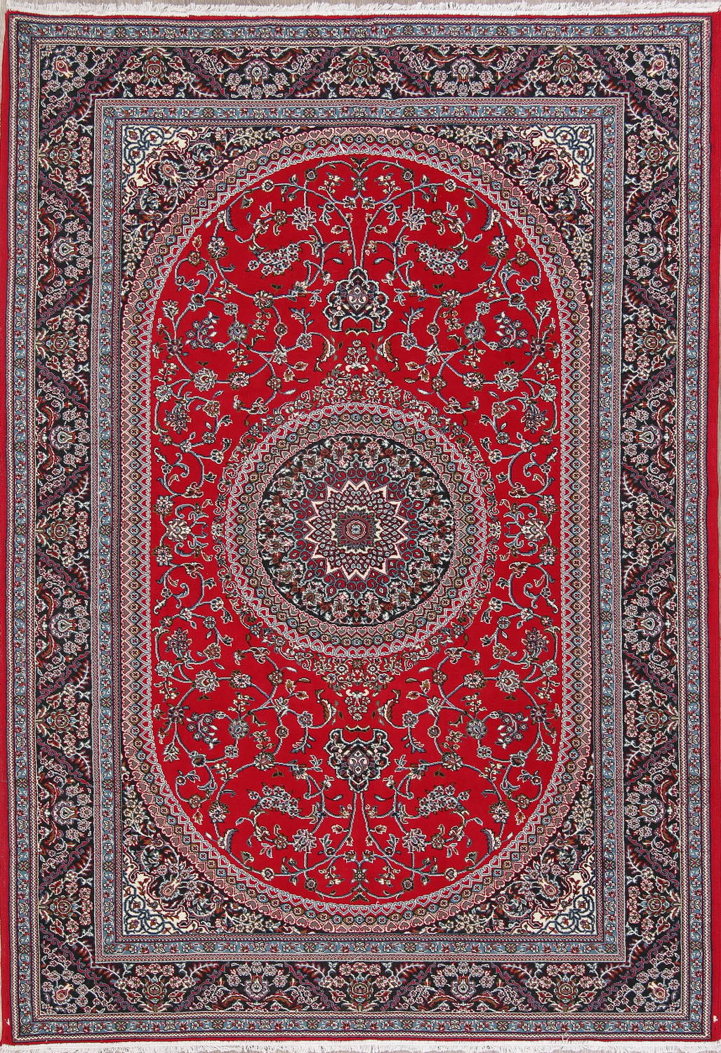 Floral Red Tabriz Persian Area Rug 7x10 image 1