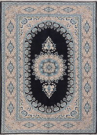 Floral Navy Blue Kerman Turkish Oriental Area Rug 7x10
