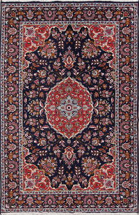 Floral Navy Blue Oushak Turkish Oriental Area Rug Wool 6x10