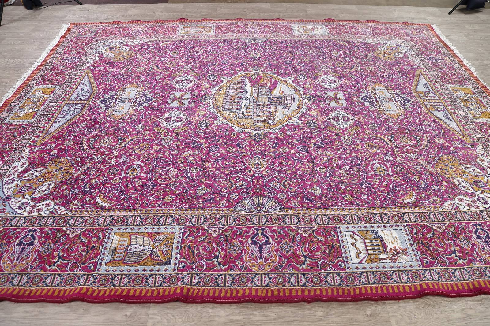 Floral Pictorial Pink Oushak Turkish Oriental Area Rug Wool 10x12