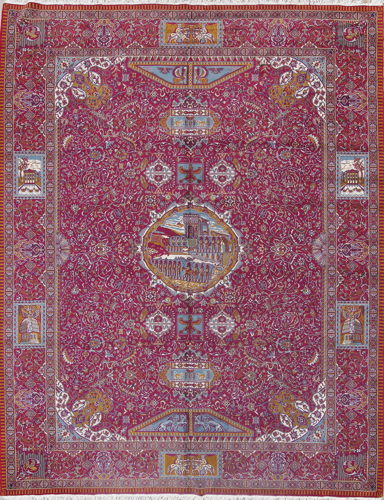 Floral Pictorial Pink Oushak Turkish Oriental Area Rug Wool 10x13
