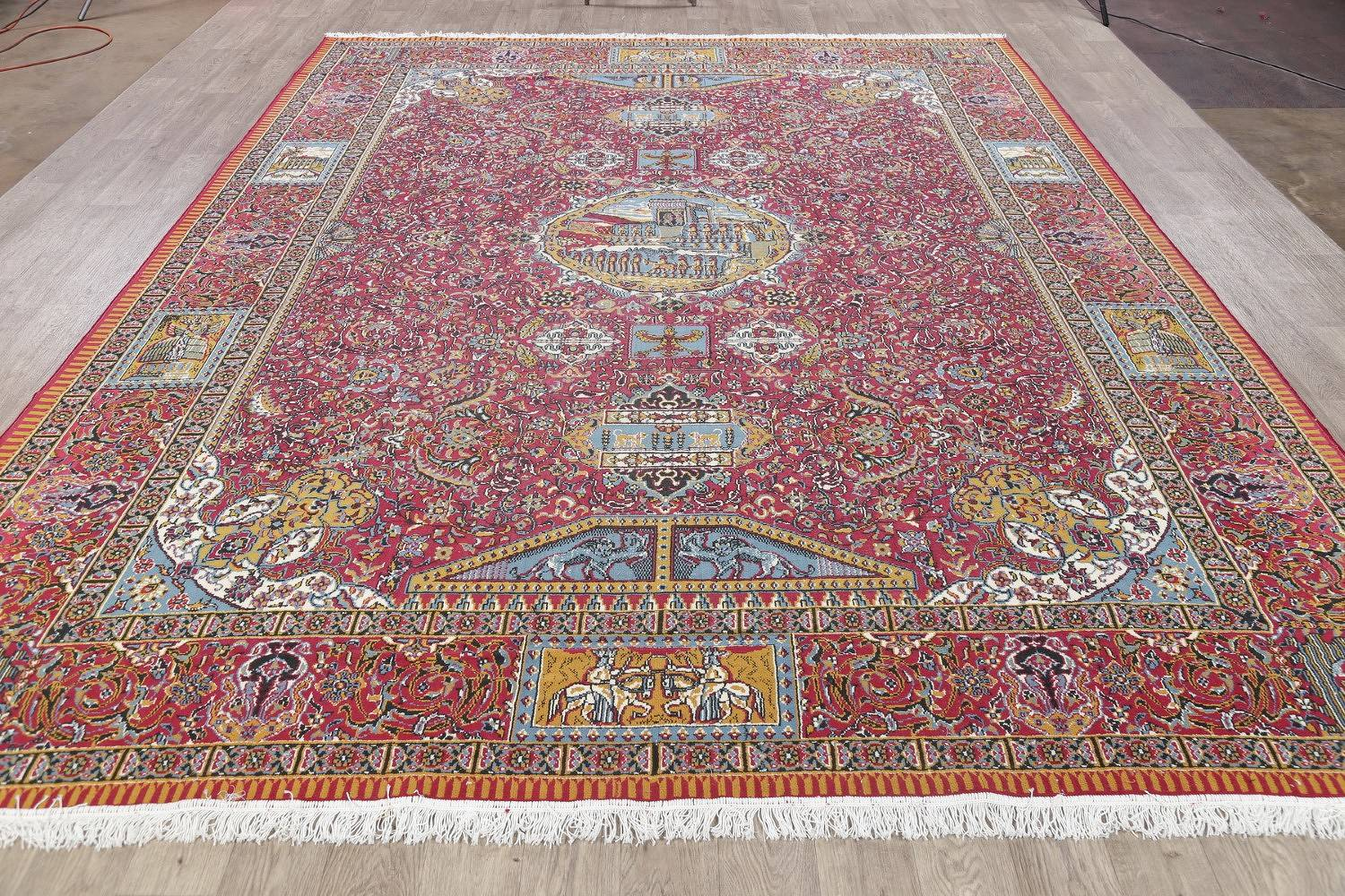Floral Pictorial Red Kashmar Turkish Oriental Area Rug Wool 10x12