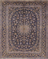 Hand-Knotted Navy Blue Floral Kashan Persian Area Rug Wool 10x14