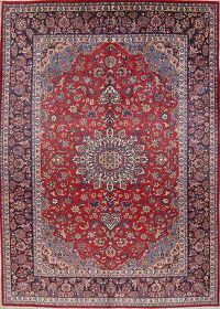 Hand-Knotted Red Floral Najafabad Persian Area Rug Wool 10x14