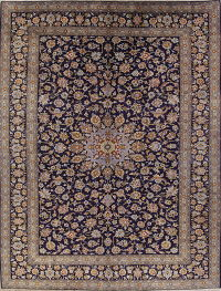 Hand-Knotted Navy Blue Floral Kashan Persian Area Rug Wool 10x13