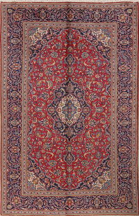 Hand-Knotted Red Traditional Floral Kashan Persian Area Rug Wool 6x10