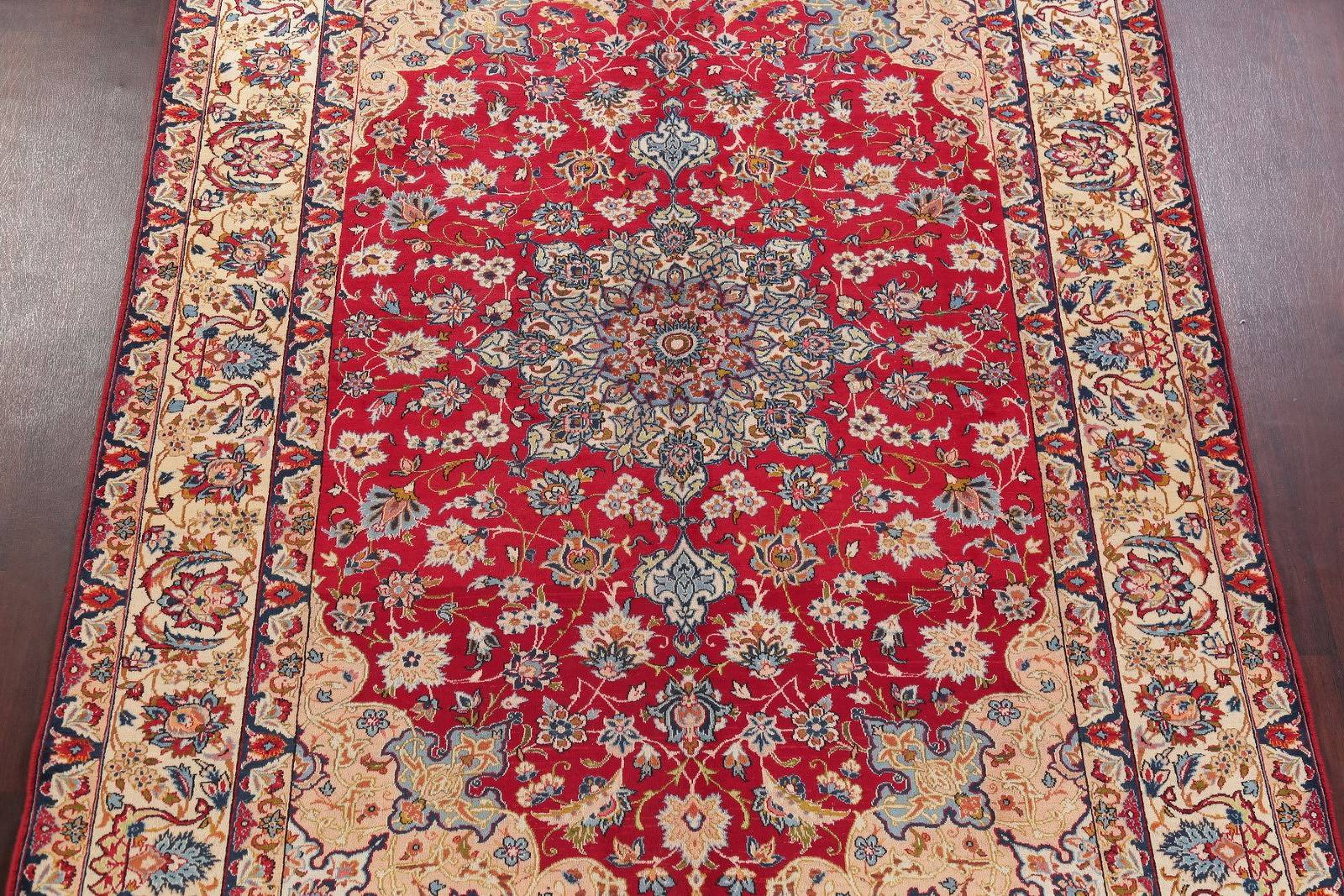 Hand-Knotted Red Floral Isfahan Persian Area Rug Wool 8x11