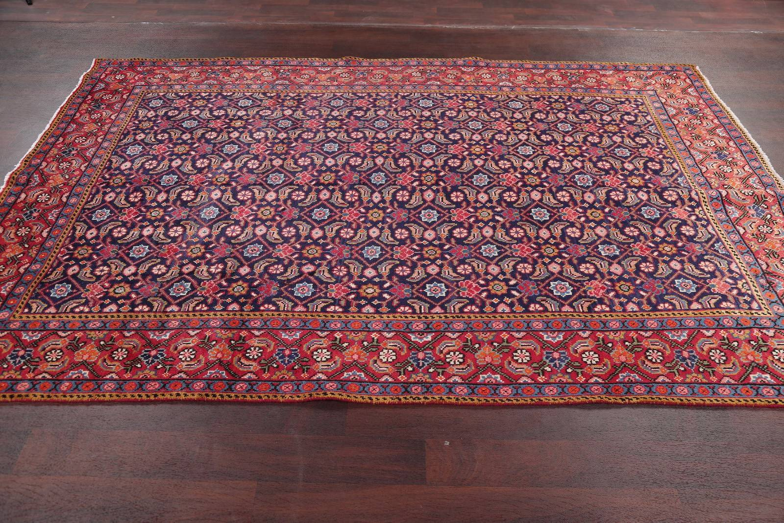 Hand-Knotted Navy Blue All-Over Floral Mahal Persian Area Rug Wool 6x10