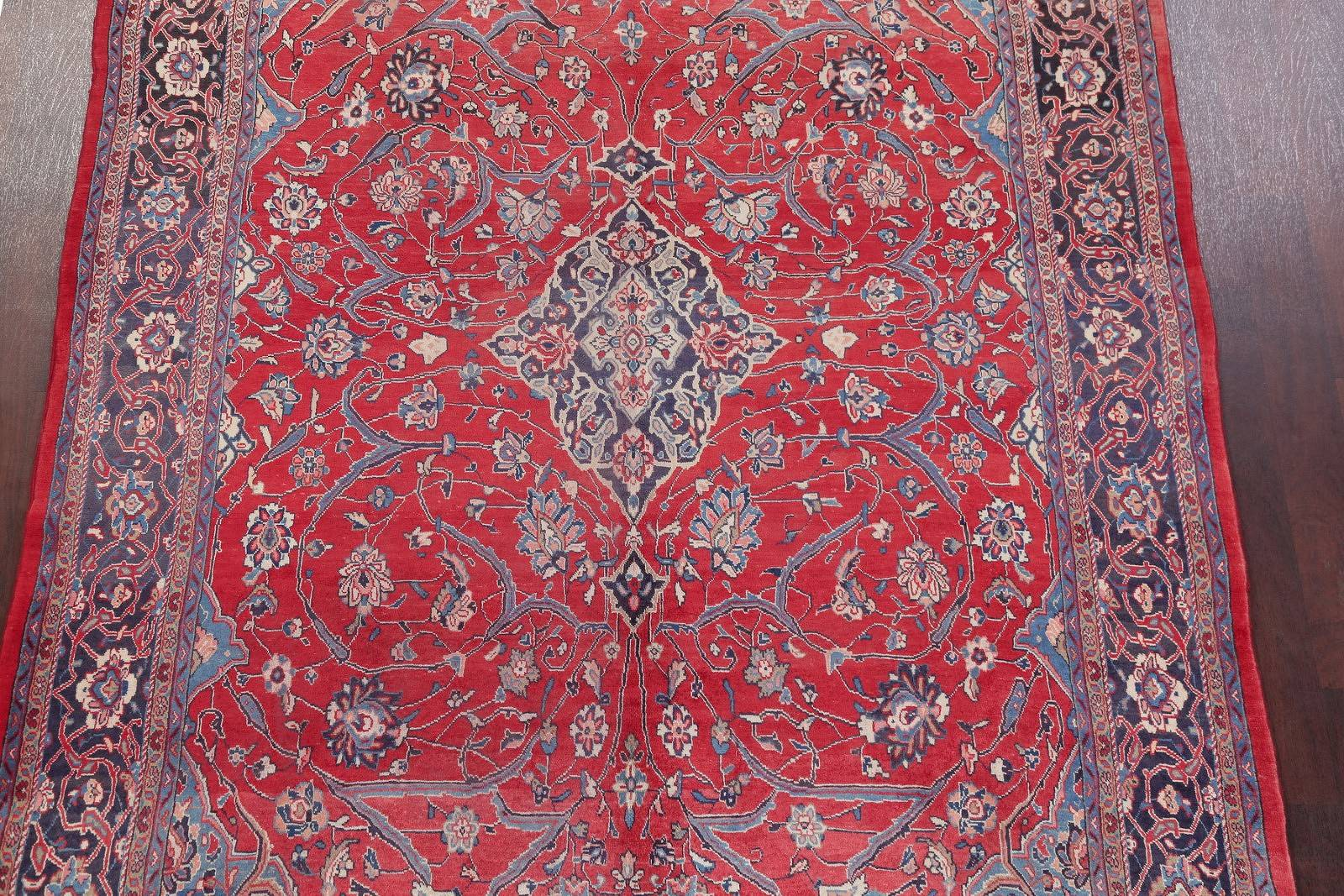 Hand-Knotted Red Floral Sarouk Persian Area Rug Wool 7x11