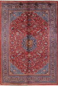 Floral Red Mahal Persian Hand-Knotted Area Rug Wool 7x10