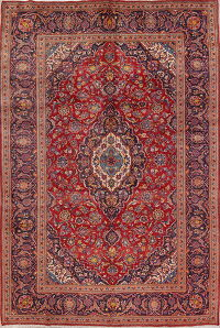 Floral Red Kashan Persian Hand-Knotted Area Rug Wool 7x10