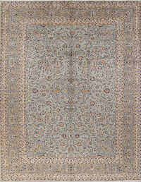 All-Over Floral Sage Green Kashan Persian Hand-Knotted Area Rug Wool 10x12