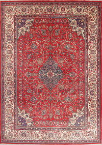 Floral Red Sarouk Persian Hand-Knotted Area Rug Wool 9x14