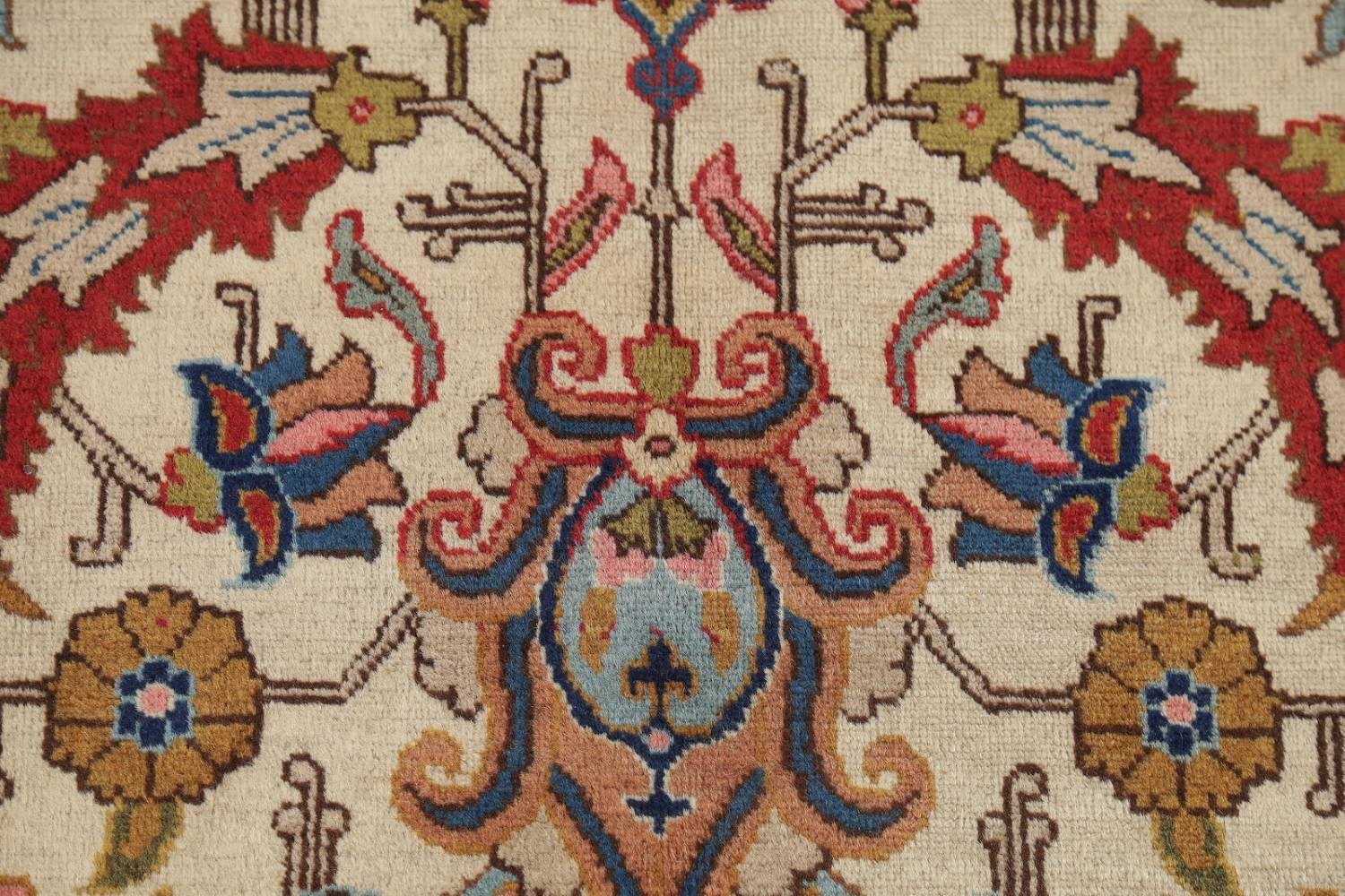 Antique Vegetable Dye Tabriz Persian Hand-Knotted Area Rug Wool 10x13 image 7