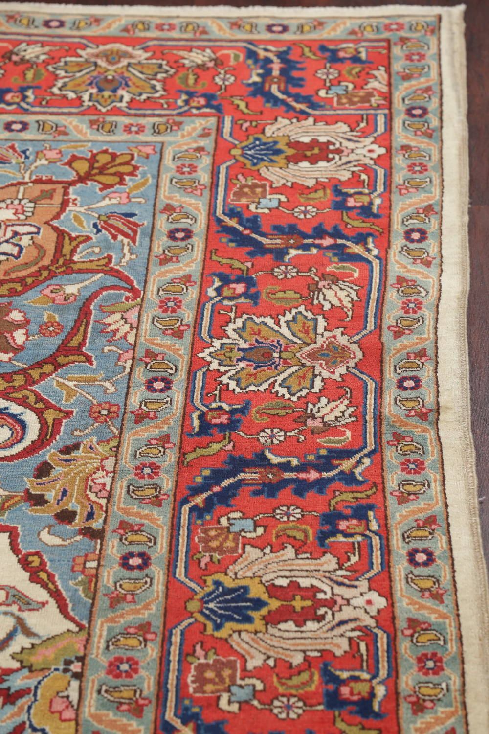 Antique Vegetable Dye Tabriz Persian Hand-Knotted Area Rug Wool 10x13 image 14
