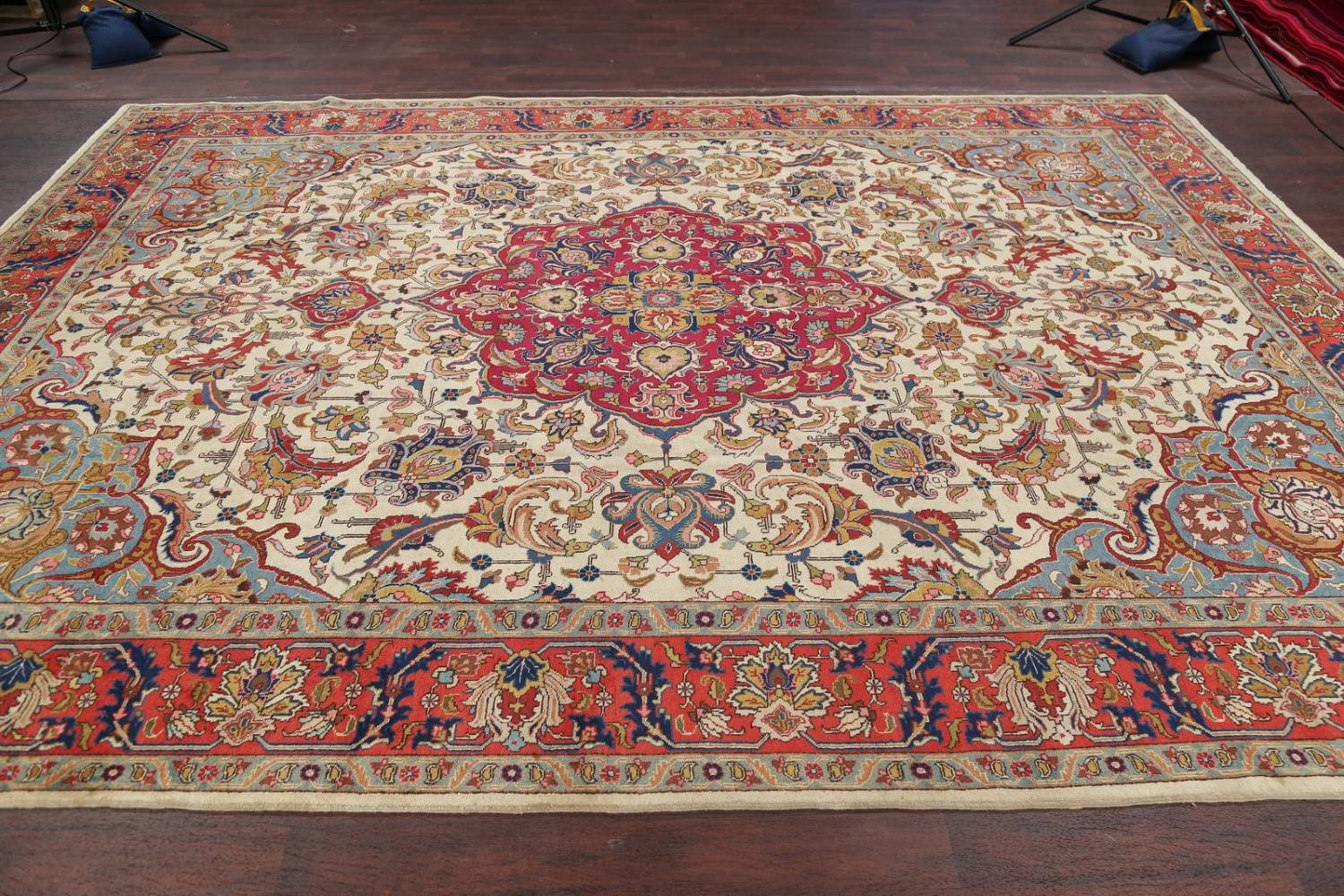 Antique Vegetable Dye Tabriz Persian Hand-Knotted Area Rug Wool 10x13 image 15