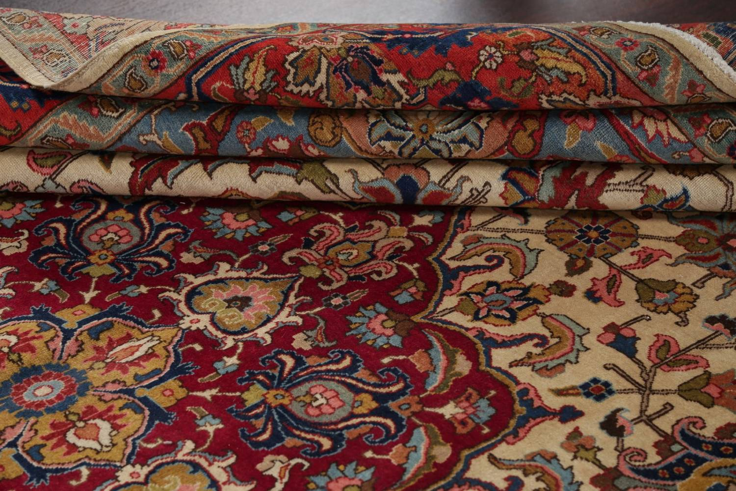 Antique Vegetable Dye Tabriz Persian Hand-Knotted Area Rug Wool 10x13 image 17