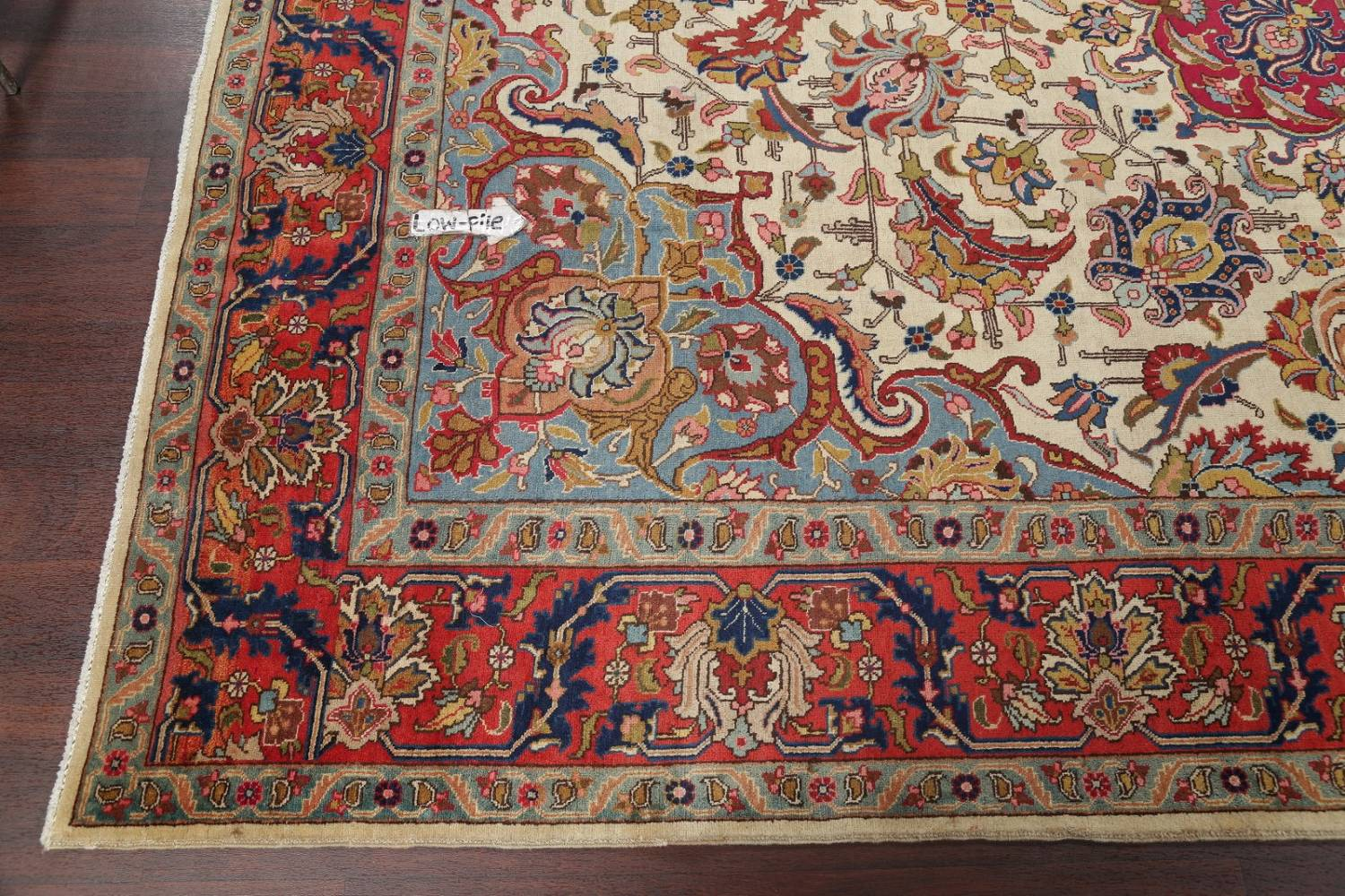 Antique Vegetable Dye Tabriz Persian Hand-Knotted Area Rug Wool 10x13 image 13
