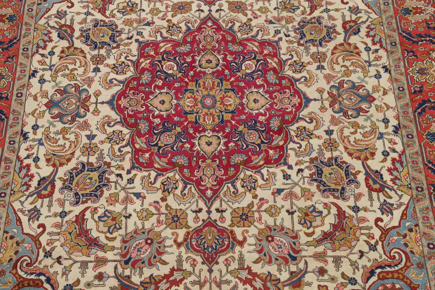 Antique Vegetable Dye Tabriz Persian Hand-Knotted Area Rug Wool 10x13 image 3