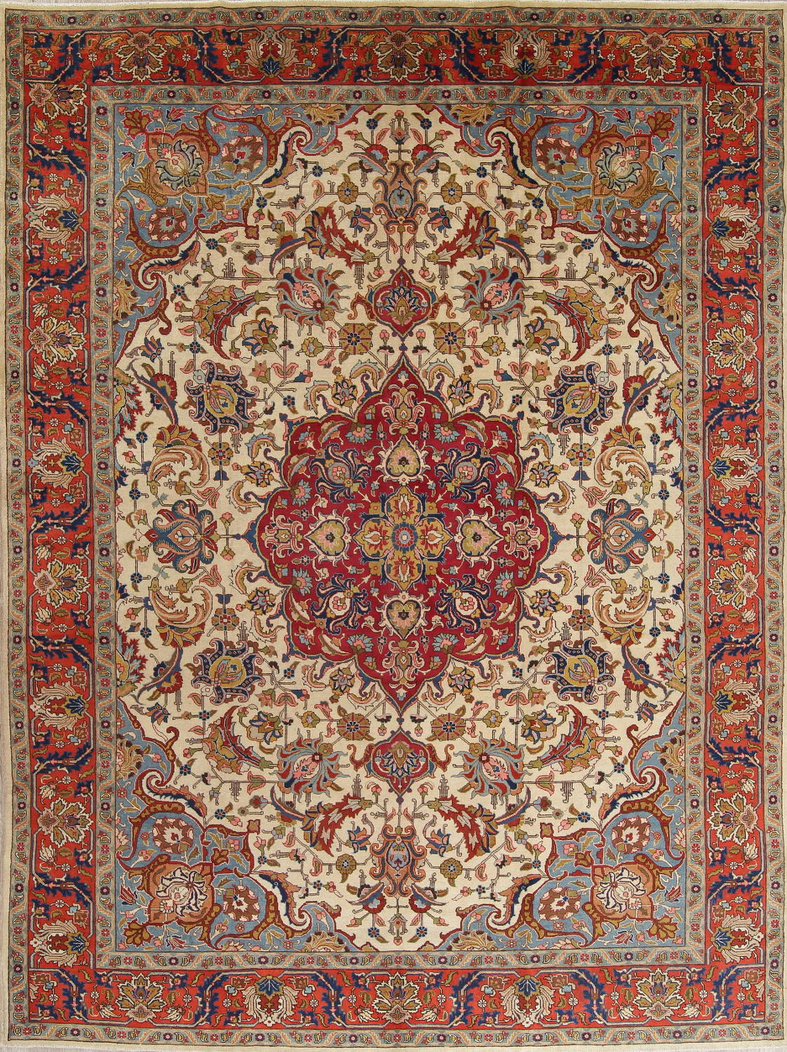 Antique Vegetable Dye Tabriz Persian Hand-Knotted Area Rug Wool 10x13 image 1
