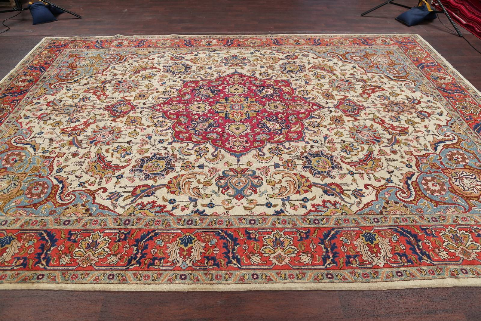 Antique Vegetable Dye Tabriz Persian Hand-Knotted Area Rug Wool 10x13