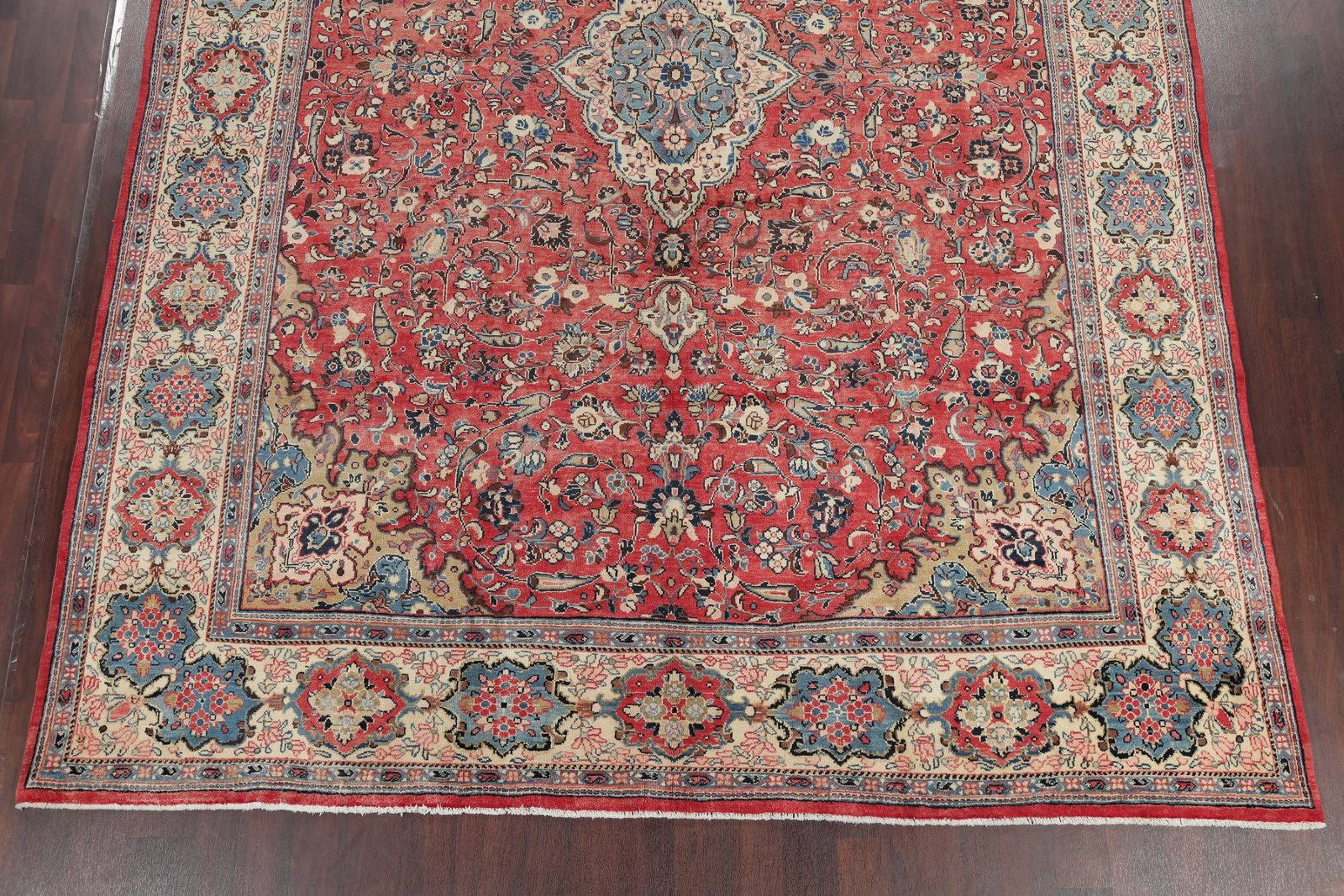 Antique Floral Sarouk Persian Hand-Knotted Area Rug Wool 10x13