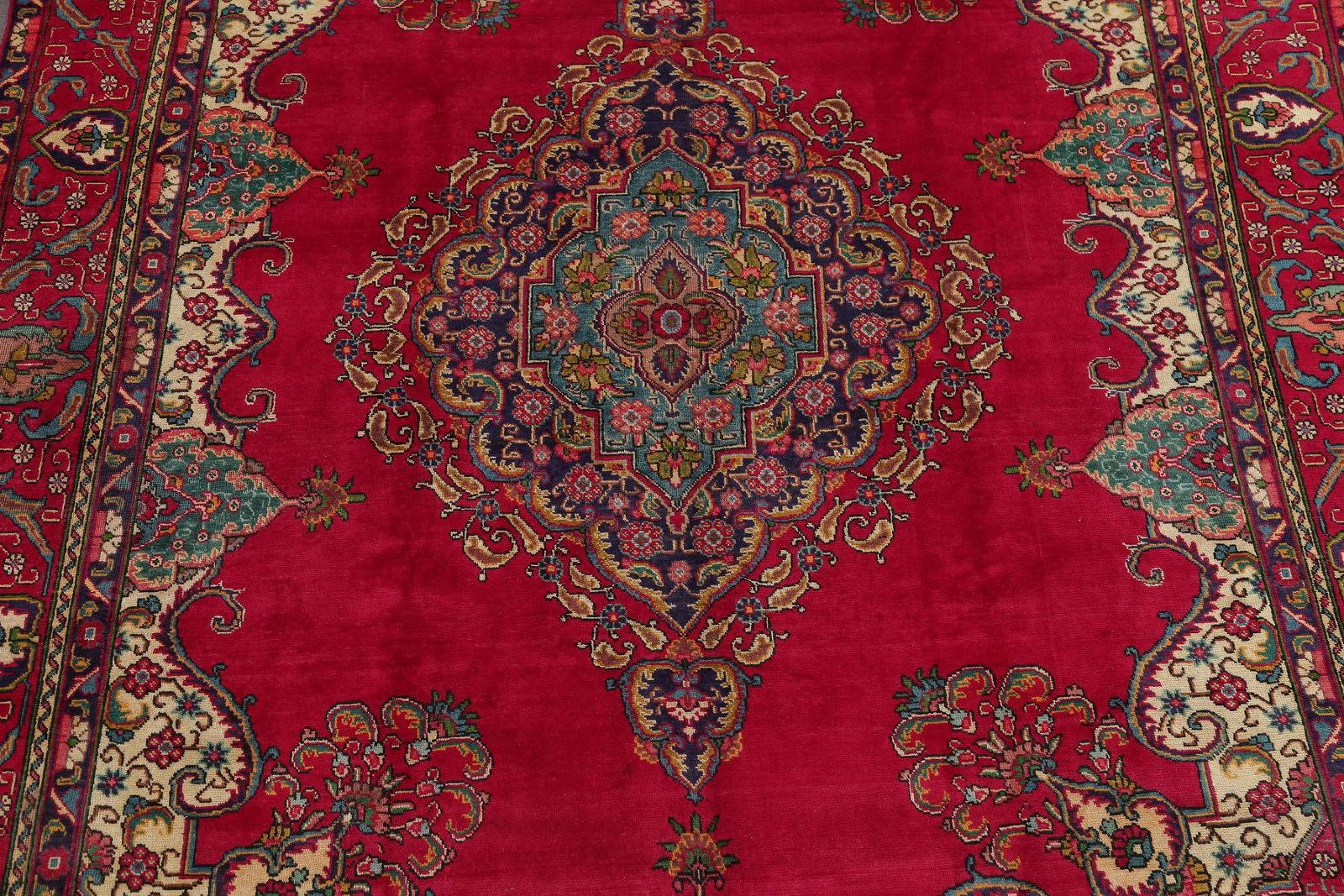 Hand-Knotted Red Floral Tabriz Persian Area Rug Wool 10x13