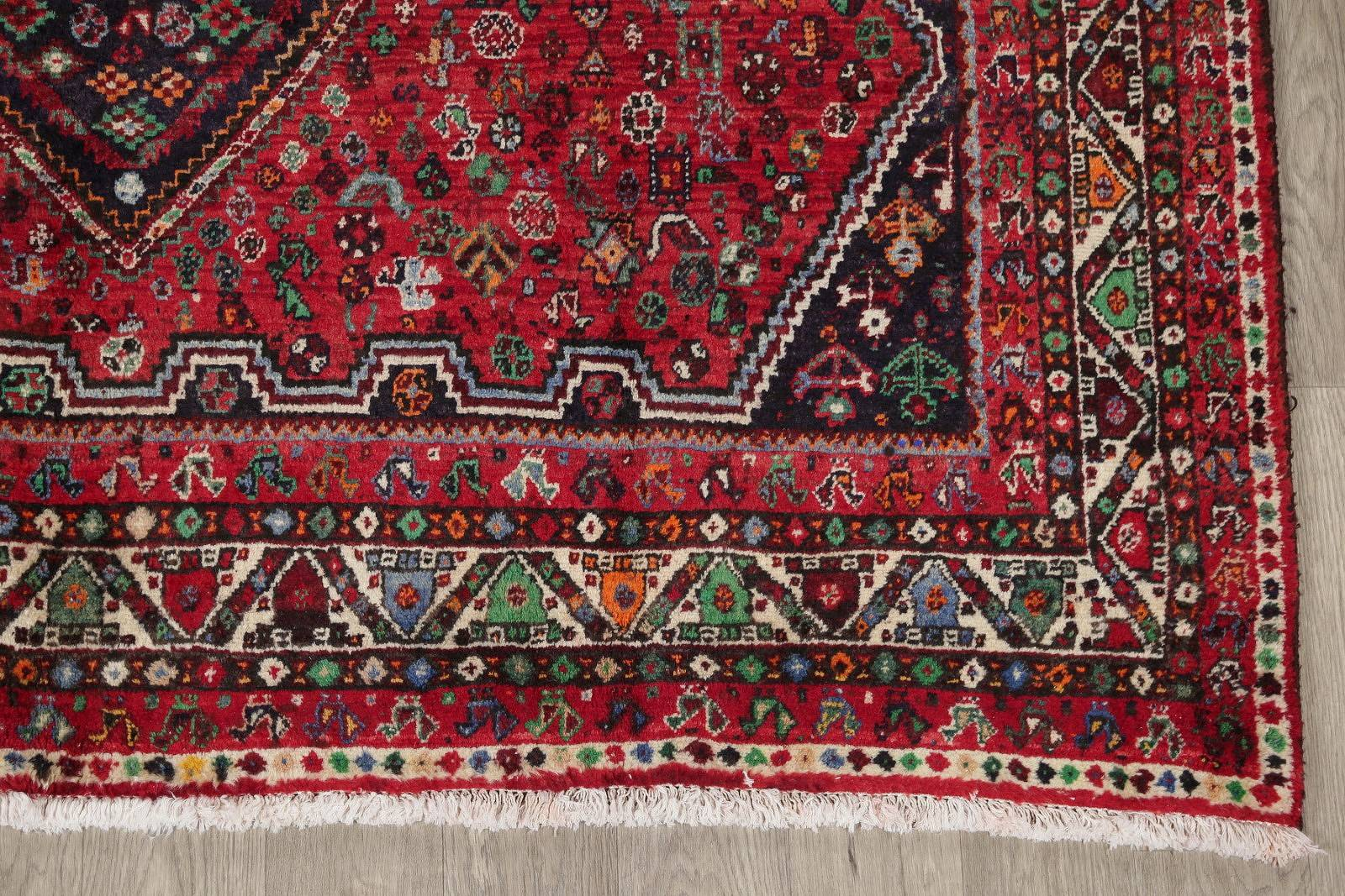 Tribal Geometric Red Shiraz Persian Hand-Knotted Area Rug Wool 7x10
