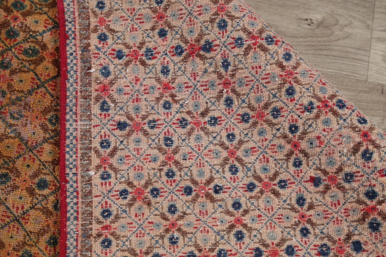 All-Over Geometric Gold Mood Kashmar Persian Hand-Knotted Area Rug Wool 6x9