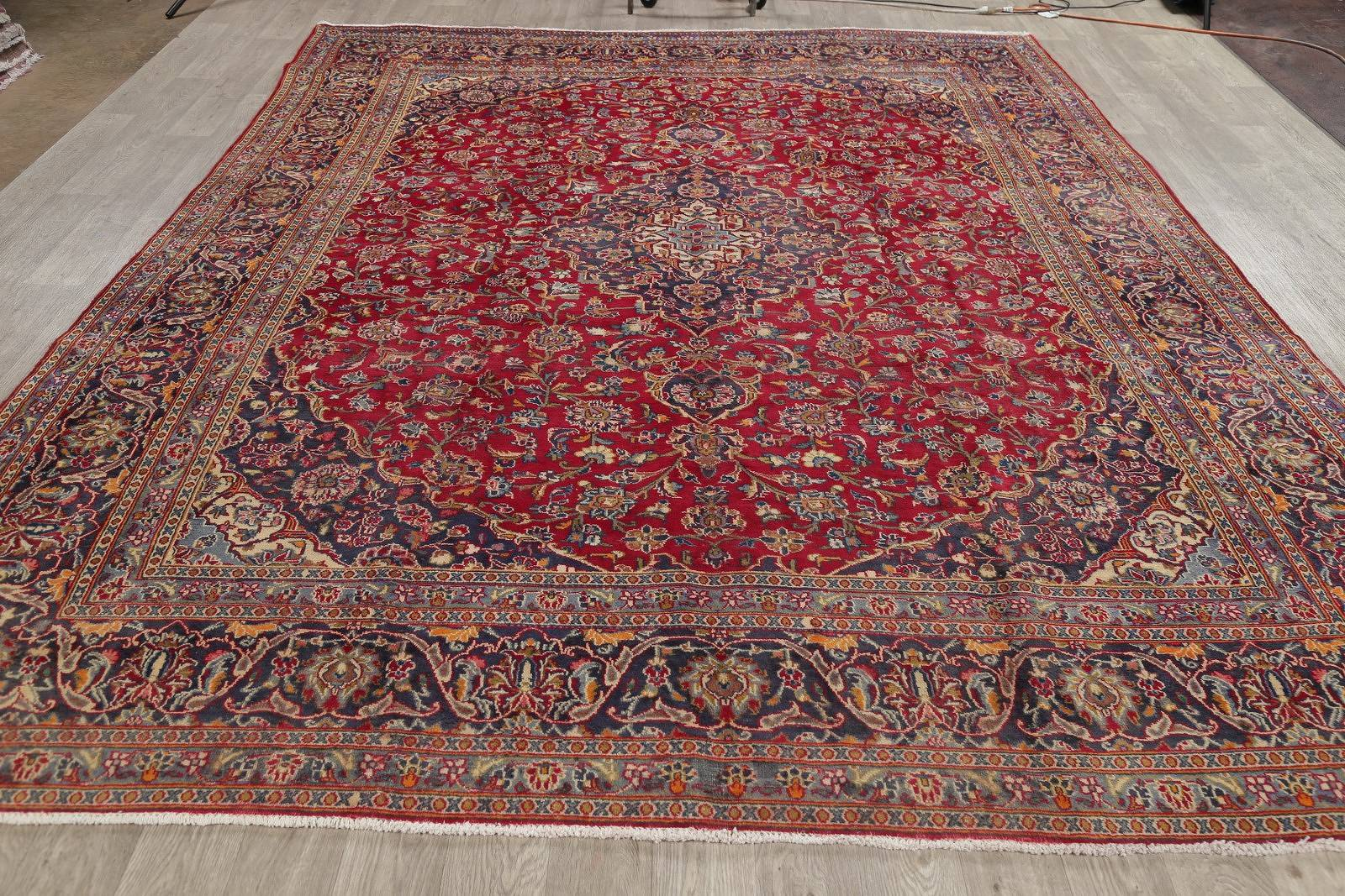 Floral Red Kashan Persian Hand-Knotted Area Rug Wool 9x12