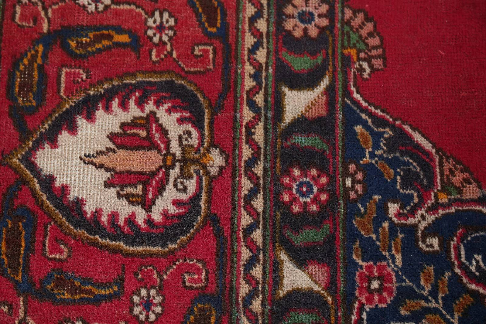 Floral Medallion Red Tabriz Persian Hand-Knotted Area Rug Wool 10x13